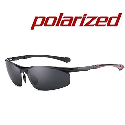 Lente Marco y JULI magnesio Marco aluminio Moda Deportes Negro Gafas Irrompible Negro Hombre Polarizadas sol de Aleación Mujer de TqZpTxw