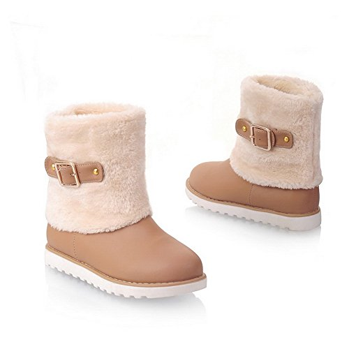 AmoonyFashion Womens Closed Round Toe Low Heels PU Short Plush Solid Boots with Non-Slipping Sole apricot srG45UjWZ