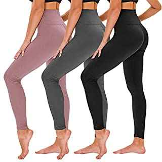 TNNZEET High Waisted Leggings for Women - Tummy Control Full Length Tights for Athletic Yoga Workout - Reg & Plus Size