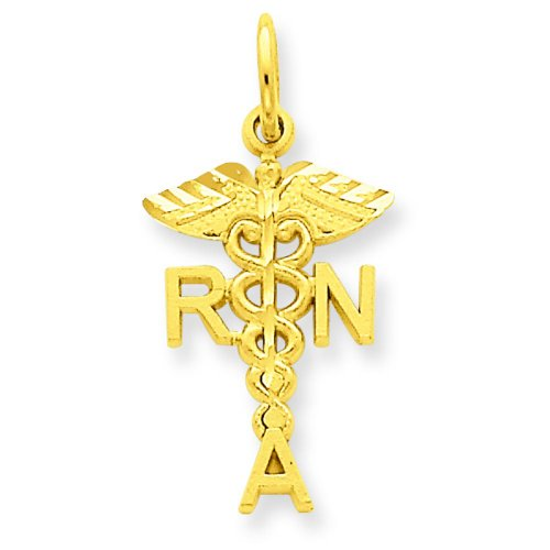 14K Gold RNA Caduses Charm
