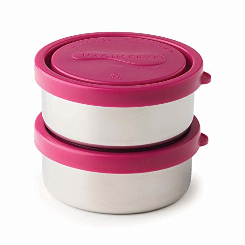 U-Konserve - Round Containers, Stainless Steel, Pack in Lunches, Picnics and Travel, Perfect for Nuts, Raisins, Hummus and Dips and More, Dishwasher Safe (Small, Magenta, Set of 2)