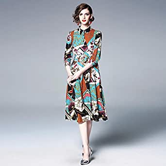 Y&D Fashion Casual Dress For Women with Floral Pattern And Shirt Neck Knee Length Dress-L