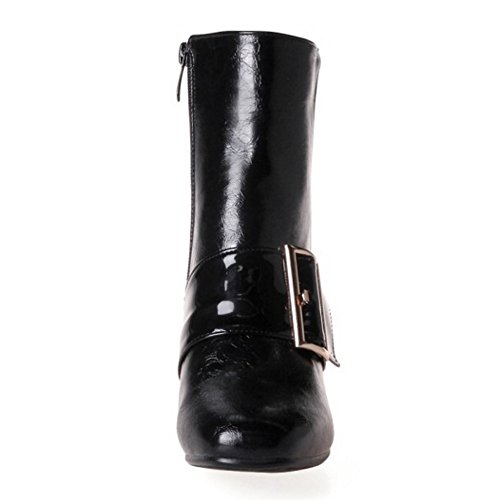 Zipper Black Heels Boots Party Fashion TAOFFEN Mid Bootie Ankle Women ECqnwz