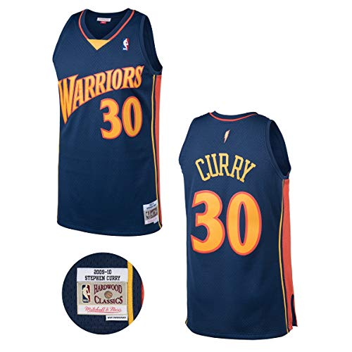 Mitchell & Ness NBA Golden State Warriors Stephen Curry Dark Blue Throwback Jersey (Medium)