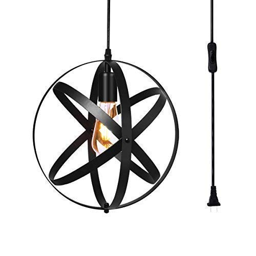 Vintage Metal Pendant Light, Hebolen Industrial Metal Spherical Pendant Displays Changeable Hanging Lighting with 15 Ft Plug in Cord and On/Off Switch Swag Pendant Lights for Home Decor