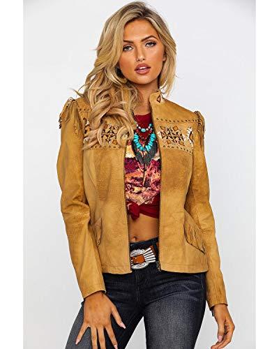 Scully Women's Aztec Buckskin Beaded Fringe Jacket Tan Large