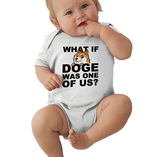 Short Sleeve Cotton Bodysuit for Baby Boys and Girls, Cute What If Doge was One of Us Playsuit White ()