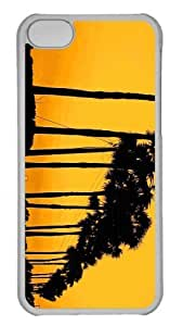 Customized iphone 5C PC Transparent Case - Sunset Tree Personalized Cover