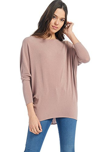 Alexander + David Women's Casual Pullover Kimono Dolman Long Sleeve Pullover Loose Fit Blouse Knit Top (Mauve, Medium)