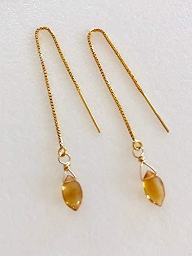 (Citrine Threader Earrings, Honey Madeira Brazilian Citrine, Petite Citrne Briolettes, Delicate Earrings, November Birthstone, 14K Gold Fill)