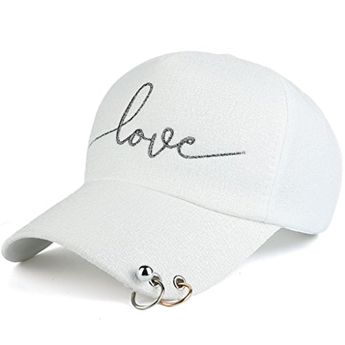 AKIZON Adjustable Baseball Cap Love Embroidery Plastic Strap & Metal Rings For Women, White - Small Fish Head