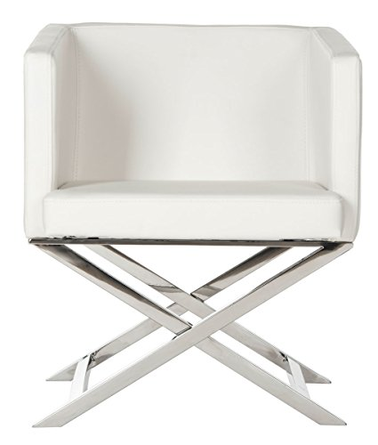 - Safavieh Home Collection Celine White and Chrome Modern Glam Bonded Leather Cross Leg Chair