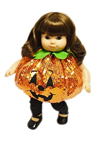 Brittany's My Sequin Pumpkin Halloween Costume for American Girl Dolls Bitty Twins and Bitty (Infant Halloween Costumes For Twins)