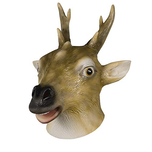 Waylike Sika Deer Mask, Animal Latex Head Mask for Any Party and Prank Prop Halloween Costume Brown ()