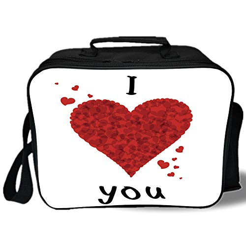 (Insulated Lunch Bag,I Love You,Love Bouquet Shape Abstract Heart Vivid My Dear Friendship Affection Theme Design,Red White,for Work/School/Picnic, Grey)