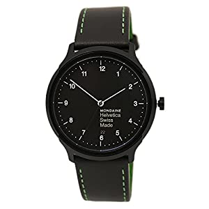 Mondaine Helvetica No.1 Watch New York Edition (MH1.R2221.LB) Swiss Made, Black-Green Leather Strap, Tan Stitches, Black Case and Dial, White Numbers and Hands