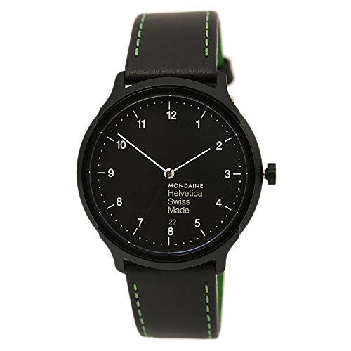 Mondaine Unisex MH1.R2221.LB Helvetica No.1 New York Edition Green Analog Quartz Black Leather Watch