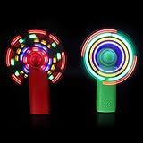 dezirZJjx Handheld Fan, Battery Operated Face Fan, Portable Travel Fan,Mini Electric Cooling Fan 4 Color Changing LED Light Concert Props Green