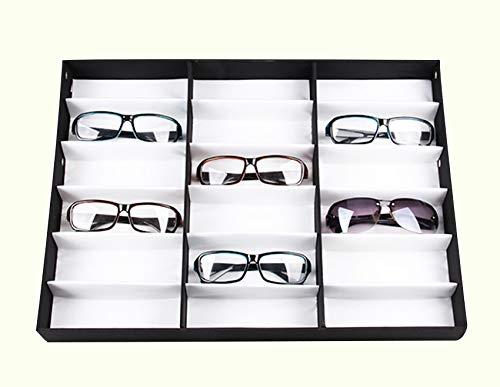 Homdox Eyewear Organizer Sunglass Display Case Glasses Storage Box Watches Jewelry Storage Holder 18 Gride, Black