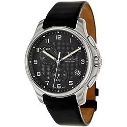 Victorinox Swiss Army Black Dial SS Leather Chrono quartz Men's Watch 241552