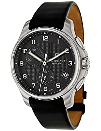 Swiss Army Black Dial SS Leather Chrono quartz Men's Watch 241552