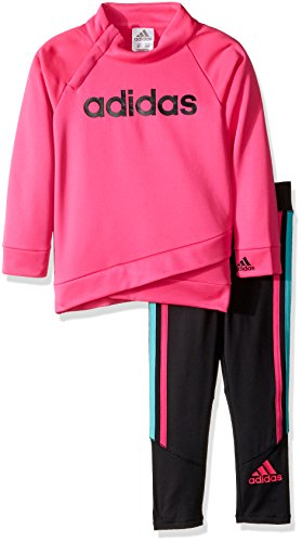 adidas Baby Girls' Fleece Pant Set, Medium Pink, 24 Months