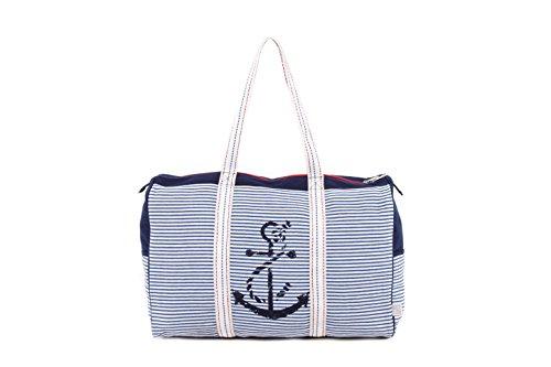 PE Florence - Bolsa de playa  Azul marine weiß gestreift