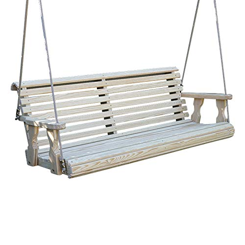 CAF Amish Heavy Duty 800 Lb Roll Back Treated Porch Swing with Hanging Ropes (5 Foot, Unfinished)