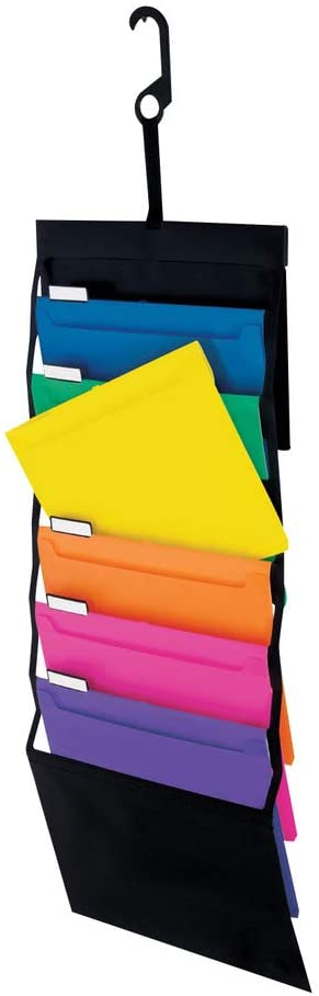 Pendaflex Hanging Organizer, All-in-1 Wall Organizer/Pocket Chart, Black with Bright Color Folders, Poly Carry Case, Letter Size (52891)