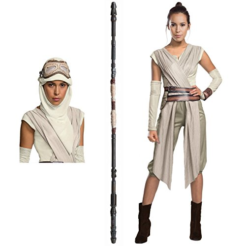 [Star Wars The Force Awakens Costume Bundle Set - Deluxe Adult Large Costume, Eye Mask, and Staff] (Female Robot Costumes)