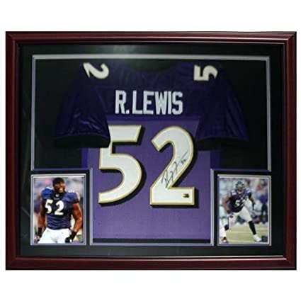 0c2173e51 Image Unavailable. Image not available for. Color  Ray Lewis Autographed  Signed Auto Baltimore Ravens Purple  52 Deluxe Framed Jersey ...