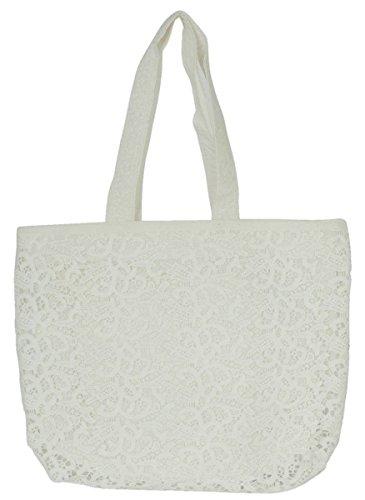 Clayre & Eef CR0139 Tasche Handtasche Henkeltasche Stofftasche weiß ca. 44 x 10 x 35 cm