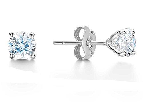 Précieuses Strass UK-Boucles d'oreilles clous avec diamant 0,1 carat 9 carats Solitaire certificat Par des GIE de l'or blanc.