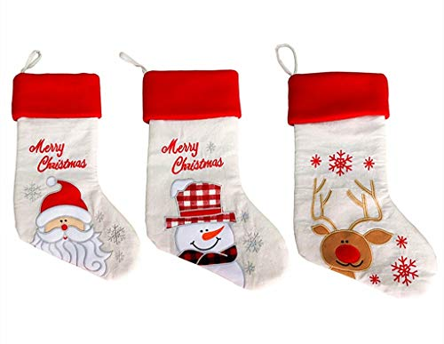 Kinteshun Christmas Santa Stockings Candy Bag,Assorted Linen Embroidery Santa Gift Socks Hanging Accessories for Xmas Tree Decoration(3pcs,Large Size,17