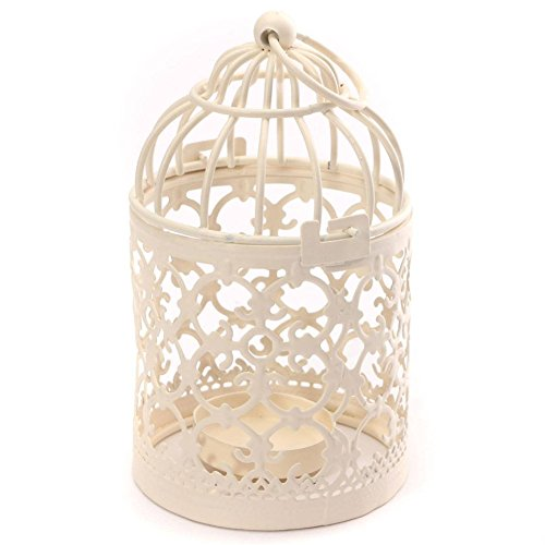 - Homegoal Bird Cage Metal Hollow out Decorative Birdcage Iron Candle Holder Candlestick Hanging Lantern (white)