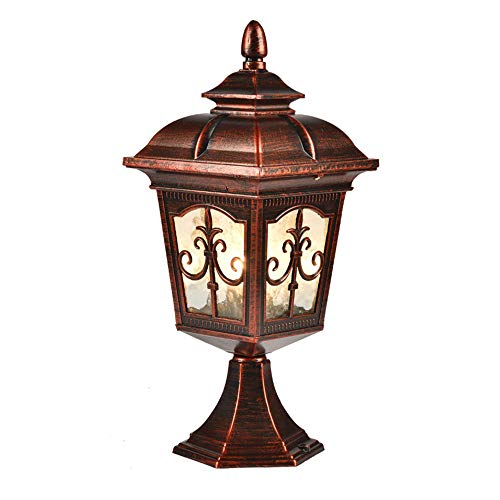 Goodvon Outdoor Post Lighting Traditional Post Lamp Patio Aluminum Housing Clear Glass Panels European Style for Balcony, Garden, Courtyard, etc.