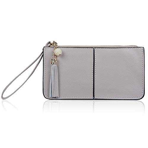 befen Soft Leather Wristlet Phone Wristlet Wallet Clutch Tassels Wristlet with Exquisite Tassels/Wrist Strap/Card Slots/Cash Pocket- Fit iPhone 6 Plus/Samsung Note 5-Gray