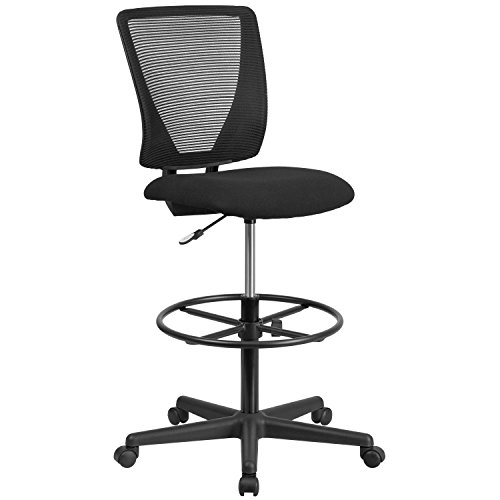 Flash Furniture Ergonomic Mid-Back Mesh Drafting Chair with Black Fabric Seat and Adjustable Foot Ring Back Drafting Chair Fabric