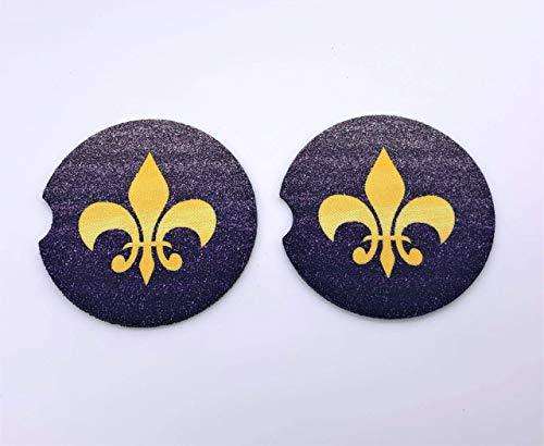Purple Gold Fleur De Lis Car Coasters (Set of 2)