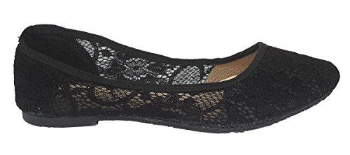 Elegant Womens New Classic Summer Fashion Crochet Slip-Ons Black Ballet Flats Black FNHom