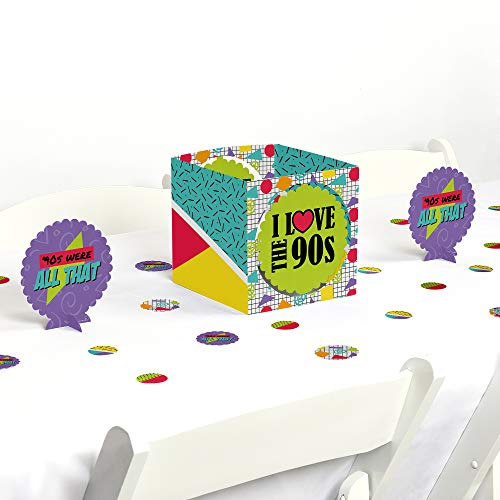 Big Dot of Happiness 90s Throwback - 1990s Party Centerpiece & Table Decoration Kit