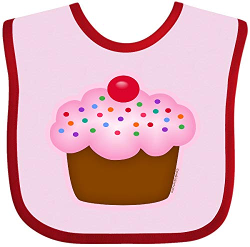 (Inktastic - Cupcake Baby Bib Pink and Red 29b78)