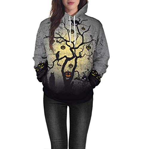 Fiaya Women's Halloween Hoodie Pumpkin Long Sleeve Pullover Tops Hooded Sweatshirt (Gray, -
