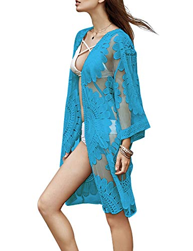 (shermie Women's Floral Crochet Lace Beach Swimsuit Cover Ups Long Vintage Kimono Cardigan (Sky Blue))