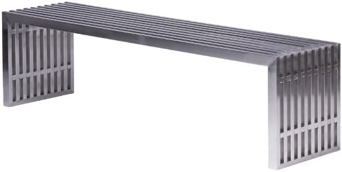 LeisureMod Eldert Brushed Stainless Steel Bench, Large, Silver