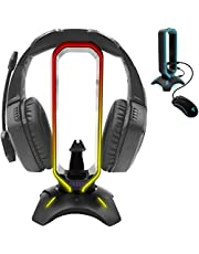 Tilted Nation RGB Headset Stand and Gaming Headphone Stand Display with Mouse Bungee Cord Holder with USB 3.0 HUB for Wired or Wireless Headsets for Xbox, PS4, PC