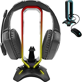 Tilted Nation RGB Headset Stand and Gaming Headphone Stand Display with Mouse Bungee Cord Holder with USB 3.0 HUB for…