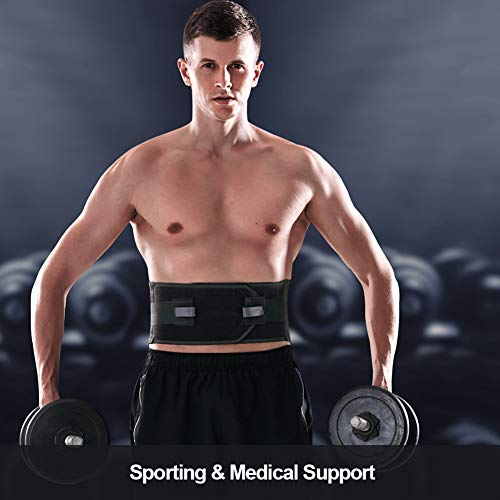 "T TIMTAKBO Lower Back Brace W/Removable Lumbar Pad for Men Women Herniated Disc,Sciatica,Scoliosis,Waist Pain Relief Lumbar Support Belt (Black/Gray, L/XL fit Belly 35.5""-43.5"")"