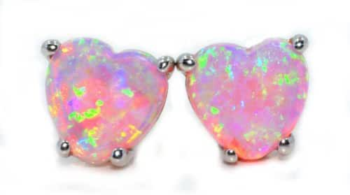 Simulated Pink Opal Heart Stud Earrings .925 Sterling Silver Rhodium Finish