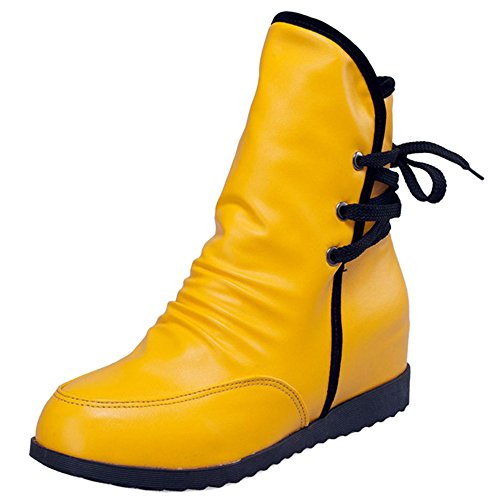 Coolcept Ladies Autumn and Winter Hidden Heel Ankle Bootie Lace Up Yellow L80VR